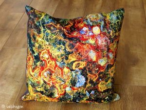 cushion featuring rust detail
