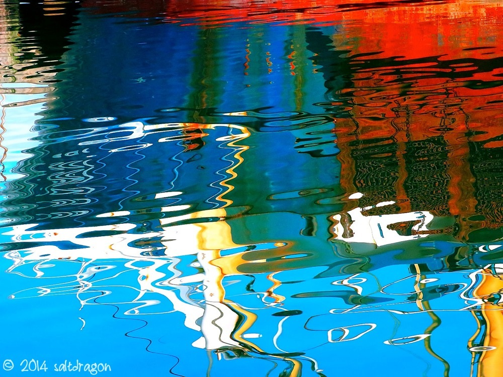 bold reflections of Jacoba alongside in Newlyn