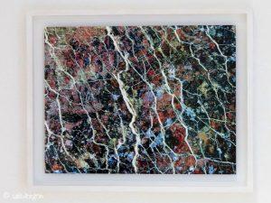 Kynance Mosaic printed on aluminium and framed in white tulipwood