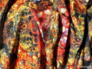 """scarf fabric featuring """"embroidered rust"""" design"""